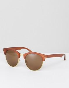 Круглые солнцезащитные очки матового коричневого цвета ASOS - Коричневый
