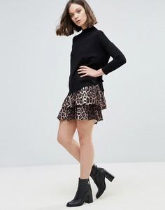 Ярусная юбка с леопардовым принтом Ichi - Мульти