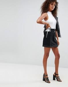 Мини-юбка со шнуровкой по бокам ASOS - Черный