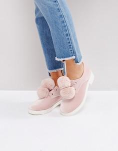 Туфли на плоской подошве с помпонами ASOS MARSHMALLOW - Розовый
