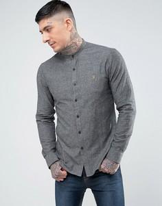 Серая узкая рубашка с воротником на пуговицах Farah - Серый