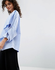 Рубашка с кнопками на рукавах ASOS WHITE - Синий