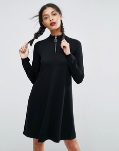 Свободное вязаное платье на молнии ASOS - Серый