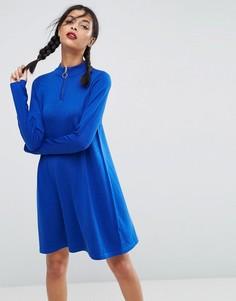 Свободное вязаное платье на молнии ASOS - Синий