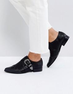Туфли на плоской подошве с острым носком в стиле вестерн ASOS MUDSLIDE - Черный