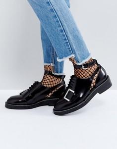 Туфли из премиум-кожи на плоской подошве с вырезами ASOS MARTIAL - Черный