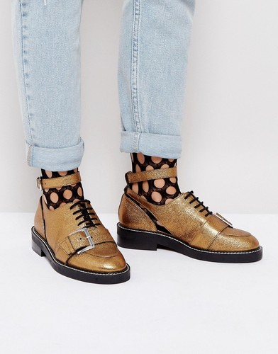 Туфли из премиум-кожи на плоской подошве с вырезами ASOS MARTIAL - Золотой