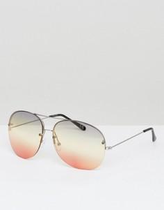 Круглые оверсайз-очки без оправы с радужными стеклами и планкой сверху ASOS - Мульти