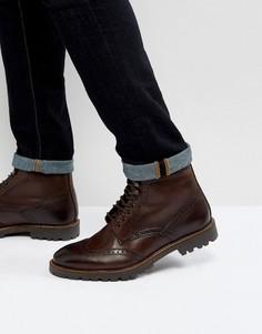 Коричневые кожаные ботинки на шнуровке Base London Troop - Коричневый