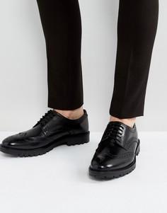 Черные кожаные броги Base London - Черный