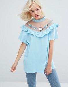 Оверсайз-футболка с прозрачной вставкой и оборкой Lazy Oaf - Синий