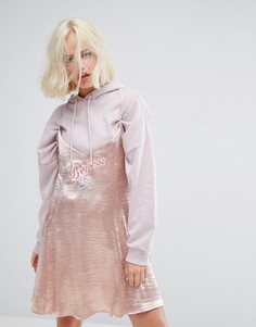 Золотисто-розовое платье на бретельках с вышивкой Princess Lazy Oaf - Золотой