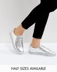 Кроссовки цвета металлик со шнуровкой ASOS DARLEY - Серебряный