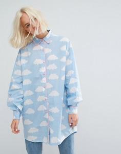 Длинная оверсайз-рубашка с облаками Lazy Oaf - Синий