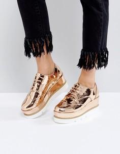 Туфли на платформе и шнуровке ASOS OUTSHINE - Бежевый