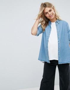 Выбеленная синяя джинсовая рубашка ASOS MATERNITY - Синий