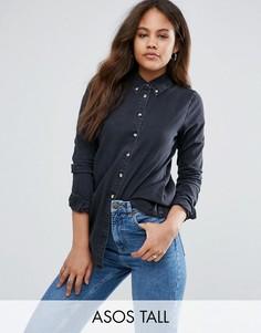 Черная джинсовая рубашка ASOS TALL - Черный