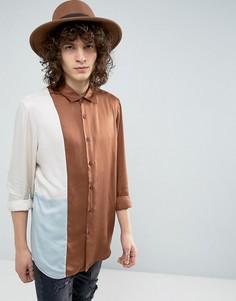 Рубашка стандартного кроя из драпированной ткани со вставками ASOS - Мульти