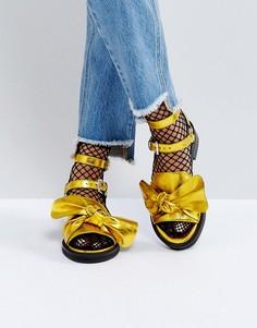 Кожаные сандалии с бантиками ASOS FLUSH Premium - Золотой