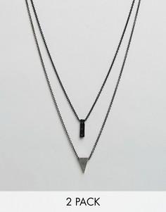 2 ожерелья с витыми подвесками в форме треугольника Icon Brand - Серебряный