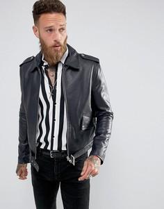 Темно-синяя кожаная куртка Black Dust L.A - Темно-синий