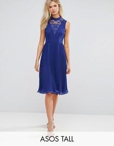 Платье миди без рукавов с кружевной вставкой ASOS TALL - Красный