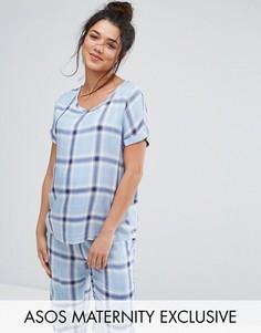 Пижамный комплект в клетку ASOS Maternity - Синий