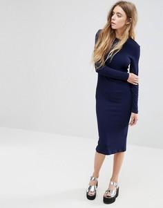 Облегающее платье миди в рубчик с длинными рукавами ASOS - Темно-синий