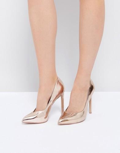 Розово-золотистые туфли на каблуке Steve Madden Walts - Золотой