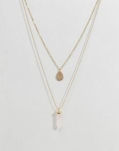 Ожерелье в два ряда с камнями Ashiana - Золотой