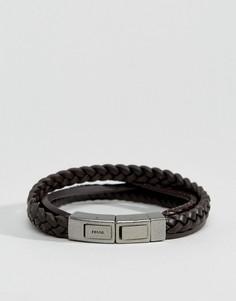 Коричневый кожаный браслет с плетеной отделкой Fossil - Коричневый