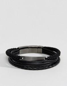 Черные браслеты из кожи и с плетеной отделкой Fossil - Черный