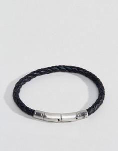 Черный кожаный браслет с плетеной отделкой Fossil - Черный