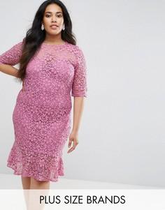 Платье-футляр из кружева кроше с оборкой по краю Paper Dolls Plus - Фиолетовый