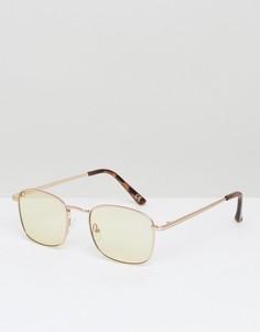 Квадратные солнцезащитные очки в стиле 90-х со светло-желтыми стеклами ASOS - Золотой