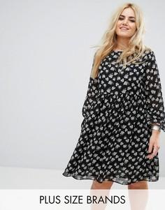 Свободное платье с цветочным принтом и рукавами-оборками Alice & You - Мульти