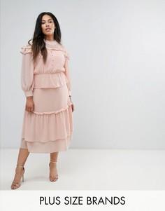 Многоярусное платье миди с кружевной вставкой Truly You Victoriana - Розовый