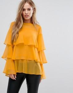 Ярусная блузка с оборками Liquorish - Оранжевый
