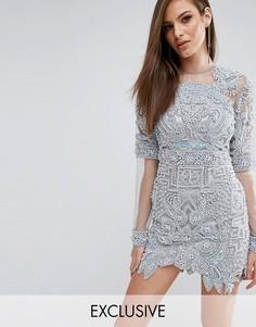 Платье миди с отделкой и сетчатыми рукавами A Star Is Born - Синий