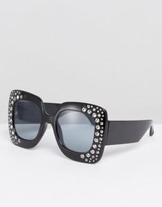Большие квадратные солнцезащитные очки с декоративной отделкой ASOS - Черный