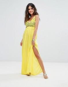 Пляжное платье макси с отделкой кроше Liquorish - Желтый