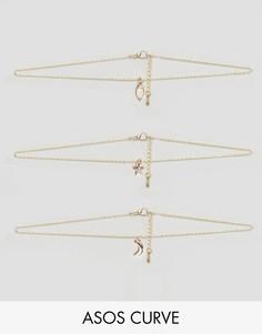 Цепь-чокер и ярусные ожерелья (набор из 3 пр.) эксклюзивно для ASOS CURVE - Золотой