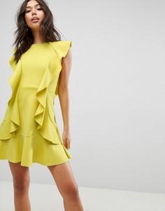 Платье мини с оборками и бантом на спине ASOS - Желтый