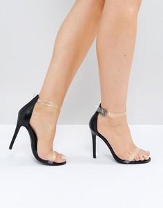 Черные босоножки на каблуке с прозрачными ремешками Missguided - Черный
