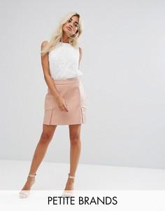 Мини-юбка из искусственной кожи Fashion Union Petite - Розовый