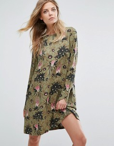 Платье с длинными рукавами и цветочным принтом Y.A.S - Мульти