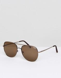 Коричневые солнцезащитные очки-авиаторы Quay Australia - Коричневый