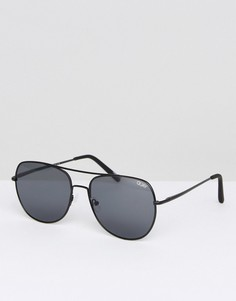 Черные солнцезащитные очки-авиаторы Quay Australia - Черный