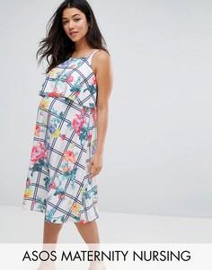 Платье миди в клетку с цветочным принтом ASOS Maternity NURSING - Мульти