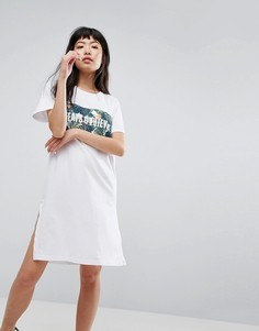 Платье-футболка с тропическим принтом и логотипом Cheats & Thieves - Белый